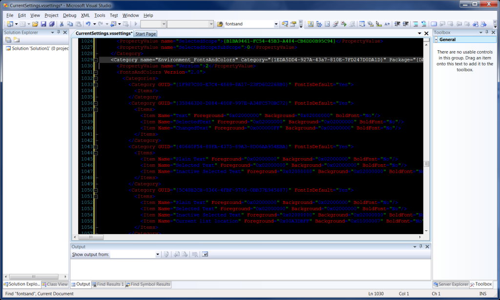 Visual Studio 2008 Text Editor with black background
