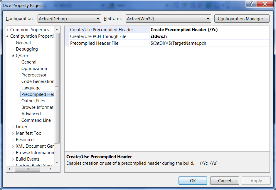 Precompiled Headers Settings